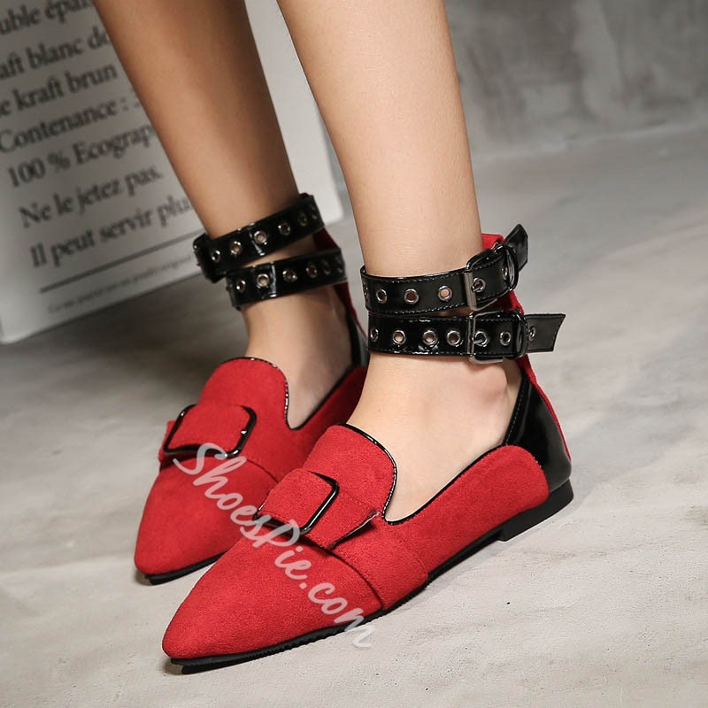 Shoespie Color Block Suede Pointed Toe Buckle Flat Sandals