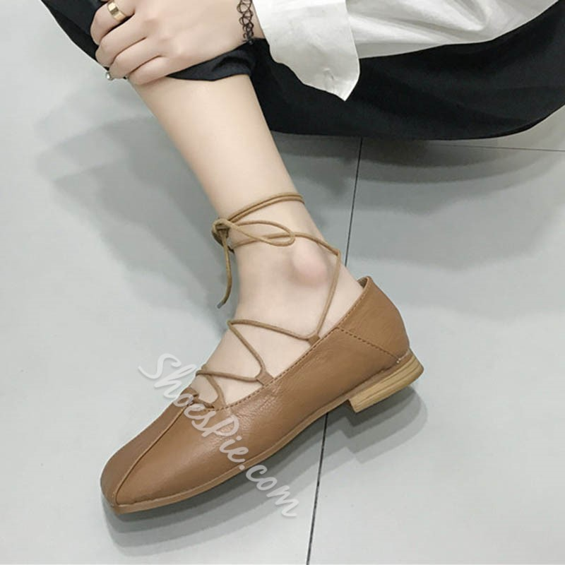 Shoespie Summer Casual Square Toe Lace-Up Flat Sandals