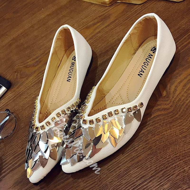 Shoespie SummerPointed Toe Rhinestone Sequin Flat Sandals