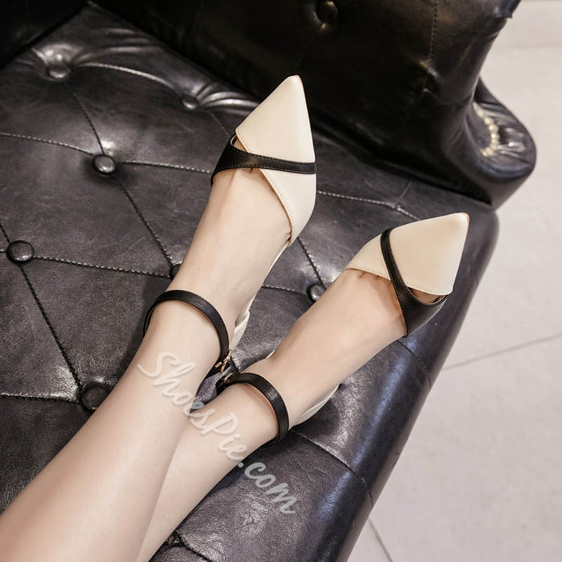 Shoespie Pointed Toe Line-Style Buckle Low Heels