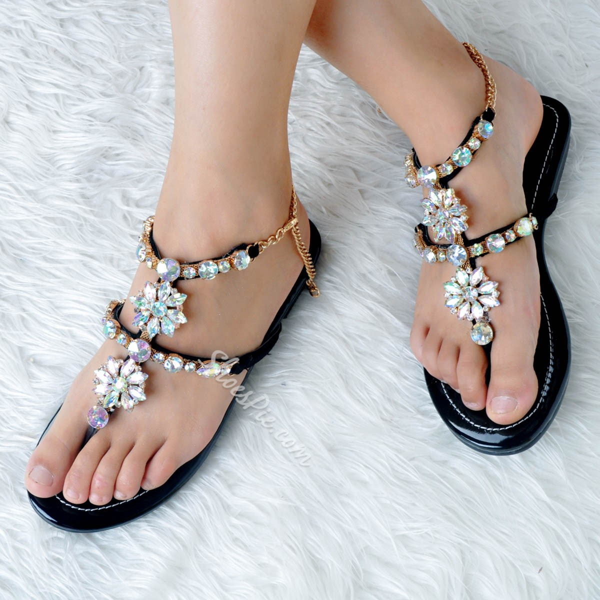 Shoespie Rhinestone Summer Strappy Thong Block Heel Flat Sandals