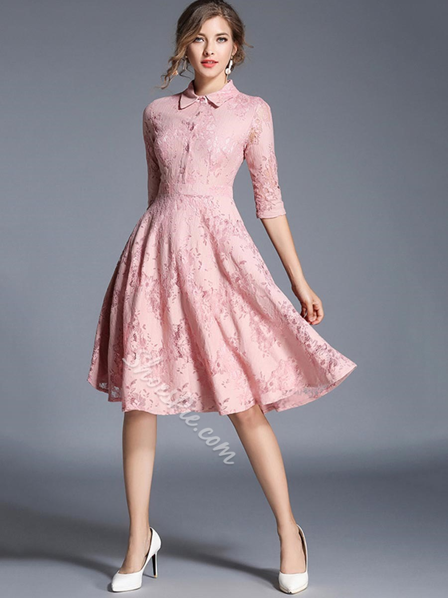 Shoespie Single-Breasted Polo Neck Expansion Lace Half Sleeve Dress