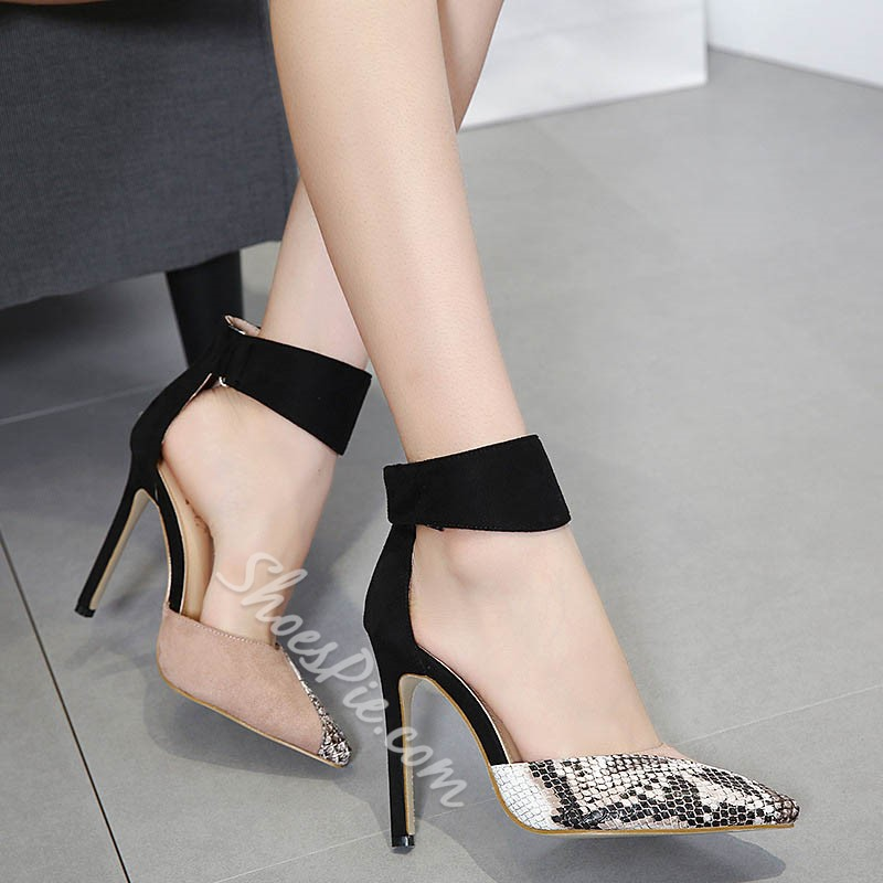 Shoespie Pointed Toe Serpentine Velcro Stiletto Heels