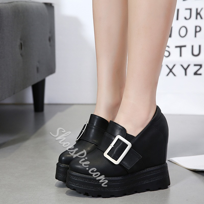 Shoespie Pointed Toe Buckle Platform Sneaker