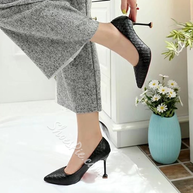 Shoespie Classy Stone Pattern Pointed Toe Stiletto Heels