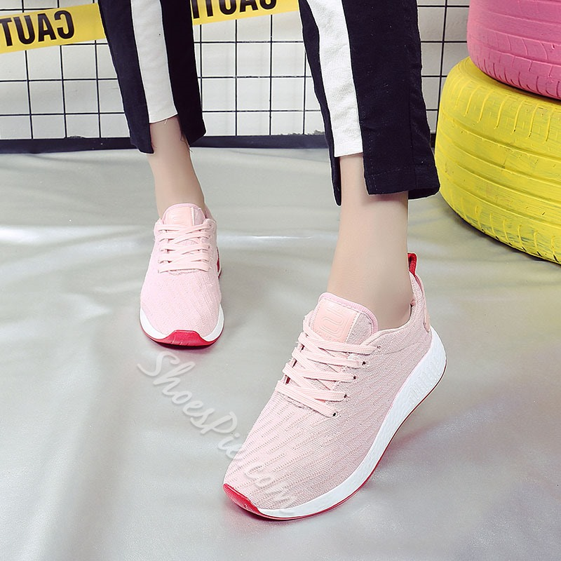 Shoespie Round Toe Lace-up Platform Sneaker