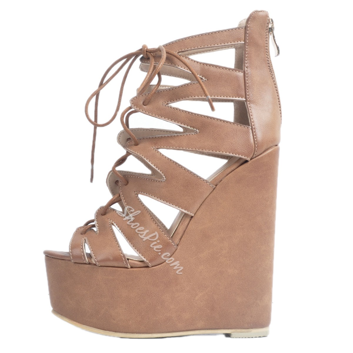 Shoespie Zipper Peep Toe Cross Strap Platform Wedge Heels Gladiator Sandals