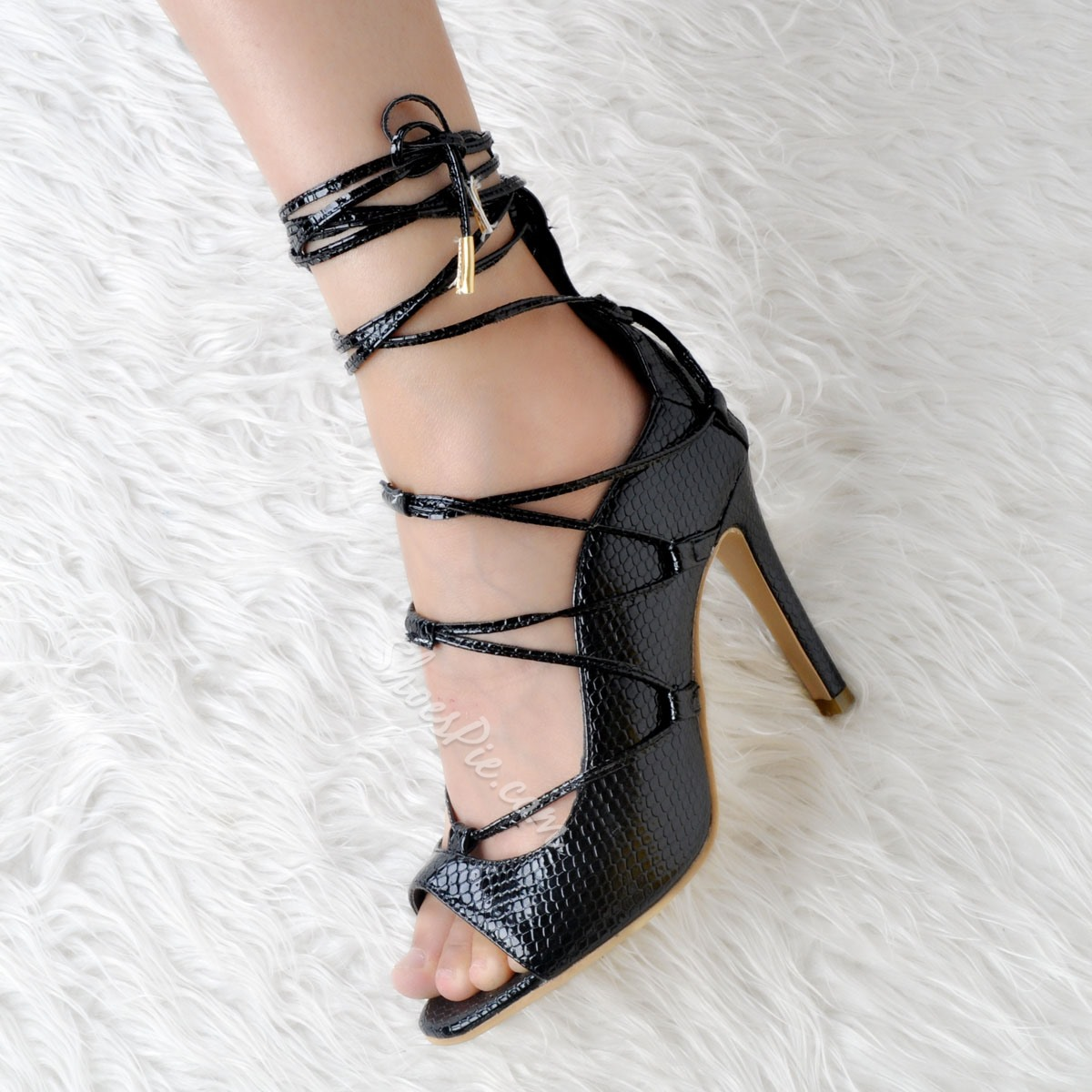 Shoespie Lace-Up Summer Gladiator Sandals Stiletto Heels Peep-toe