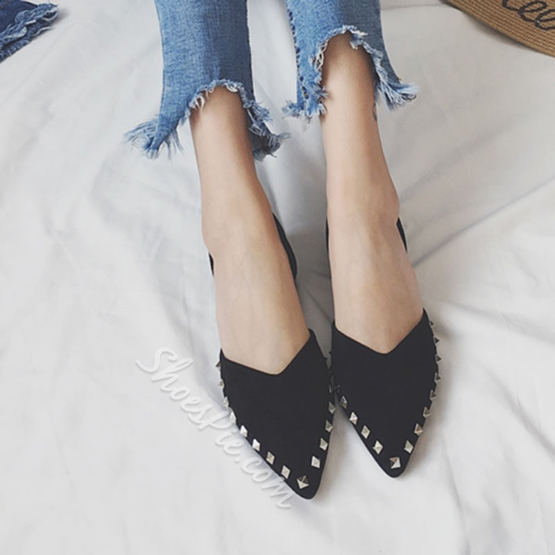 Shoespie Summer Suede Rivet Pointed Toe Flat Sandals