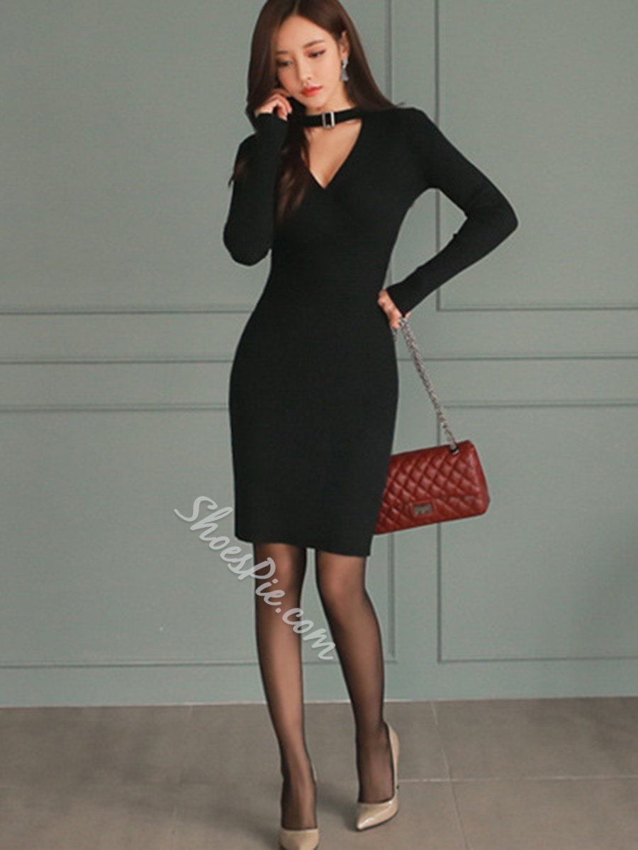 Shoespie Plain V-Neck Knee-Length Long Sleeve Bodycon Dress