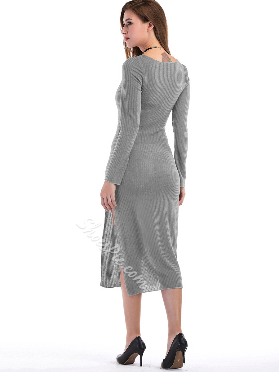Shoespie Straight Scoop NecklineLong Sleeve Bodycon Dress