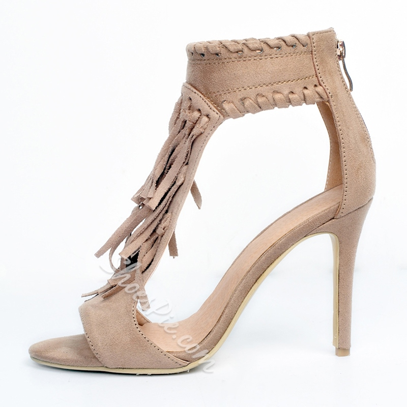 Shoespie Fringe Suede Zipper Stiletto Heel Dress Sandals