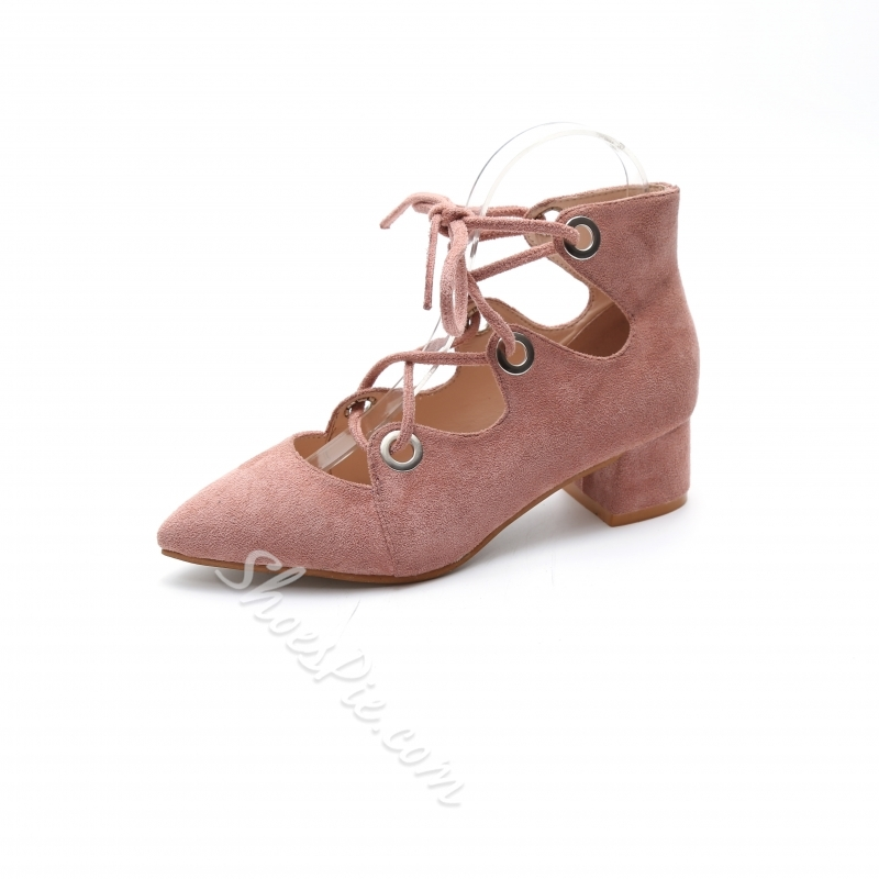 ShoespieLace-Up Hollow Pointed Toe Chunky Heel Dress Sandal