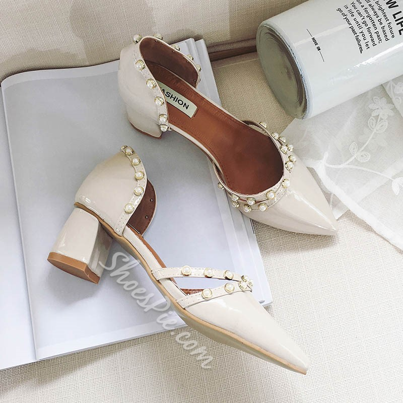 Shoespie Chunky Beads Low Heels