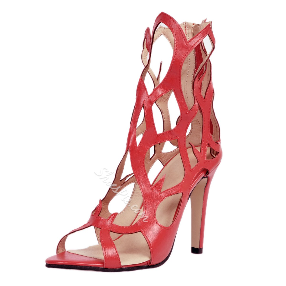 Shoespie Hollow Summer Zipper Stiletto Heels Gladiator Sandals
