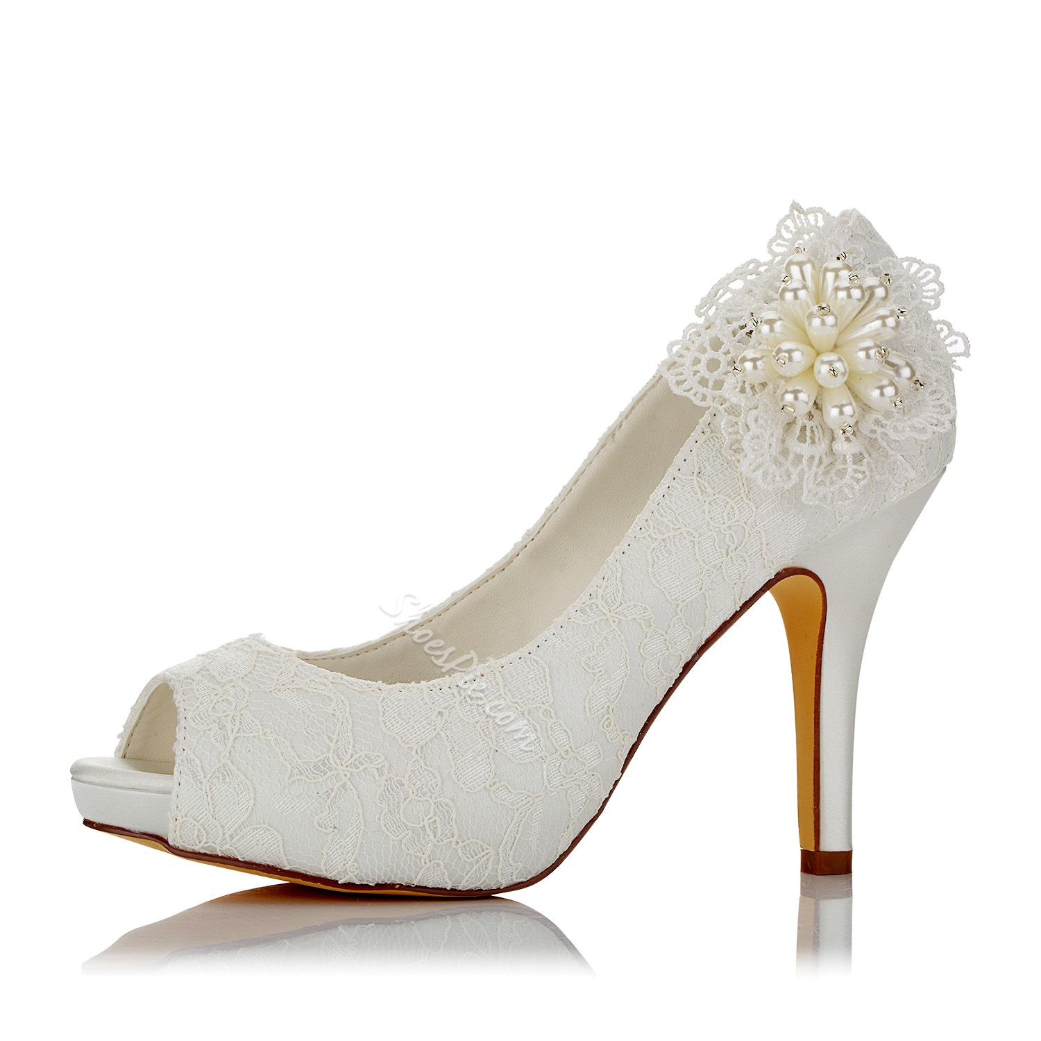 Shoespie Lace Peep Toe Bridal Shoes