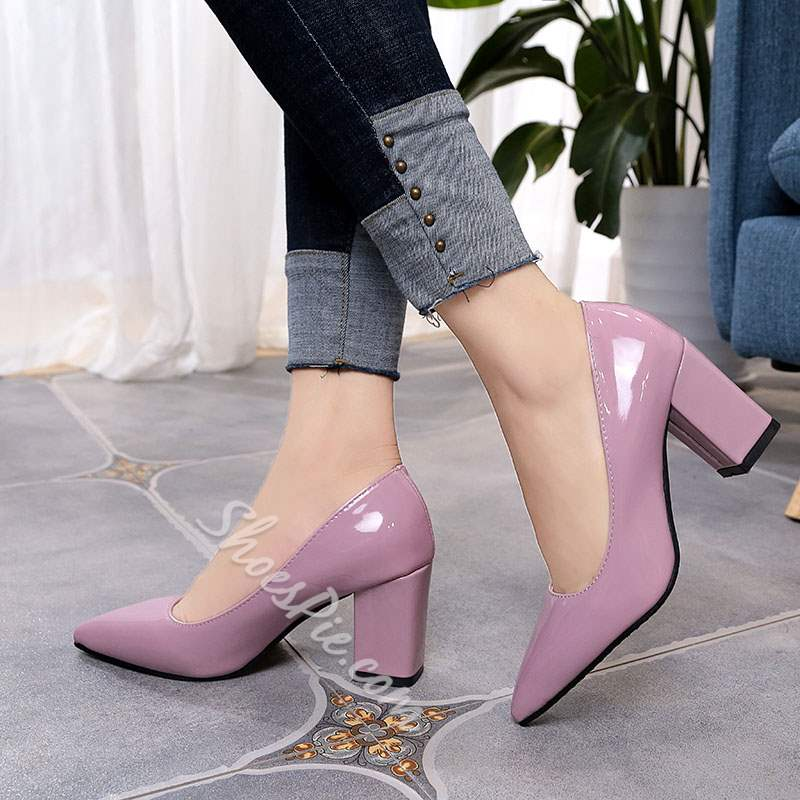 Shoespie Pointed Toe Professional Chunky Heel Sandals