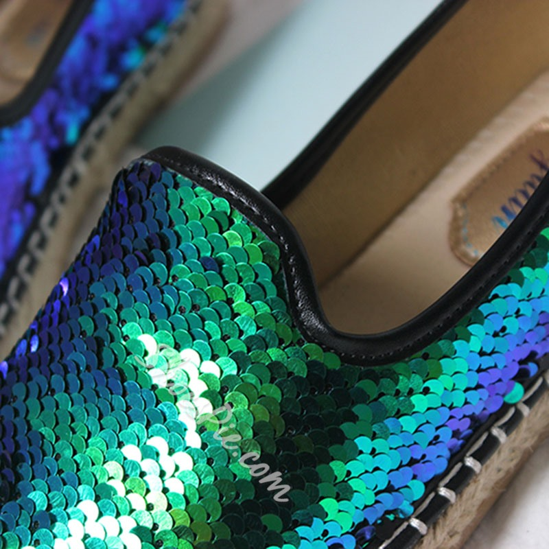 Shoespie Casual Sequin Slip-On Color Block Loafer