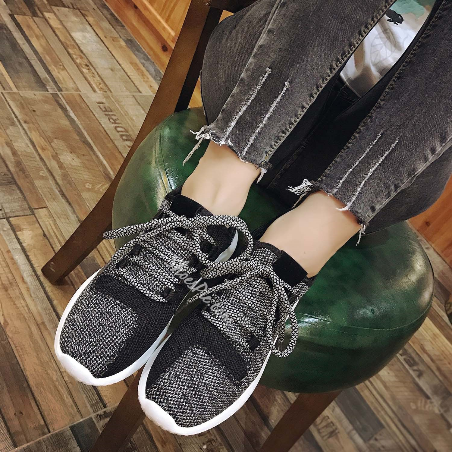 Shoespie Platform Round Toe Lace-up Sneaker