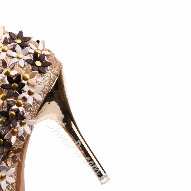 Shoespie Appliques Rivet Pointed Toe Stiletto Heel