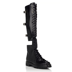 Shoespie Side Zipper Cross Strap Rivet Buckle Knee High Boot