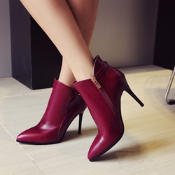 Shoespie Buckle Pointed Toe Side Zipper Ankle Boots