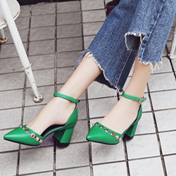 Shoespie Pointed Toe Beads RivetLine-Style Buckle Chunky Heel Low Heels Dress Sandals