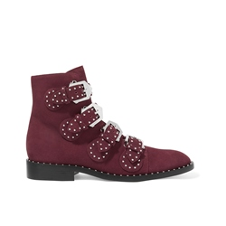 Shoespie Round Toe Rivet Buckle Ankle Boot