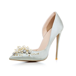 Shoespie Rhinestone Beads Rivet Stiletto Heels