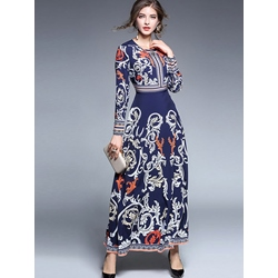 Shoespie Expansion Print Pullover Women's Maxi Dress