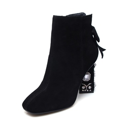 Shoespie Bow Rhinestone Chunky Heel Square Toe Side Zipper Ankle Boots