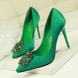 Shoespie Rhinestone Slip-On Pointed Toe Banquet Stiletto Heel