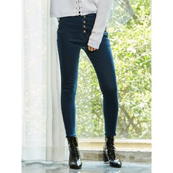 Button Pencil Pants Plain Button Women's Jeans