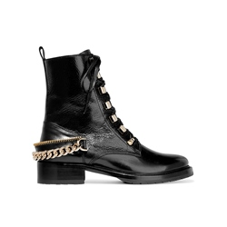 Shoespie Lace-Up Front Block Heel Chain Zipper Martin Boot
