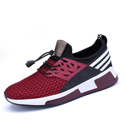 Shoespie Stripe Patchwork Sneaker Color Block Lace-Up Athletic Shoes