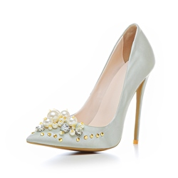 Shoespie Elegant Rhinestone Beads Rivet Stiletto Heels