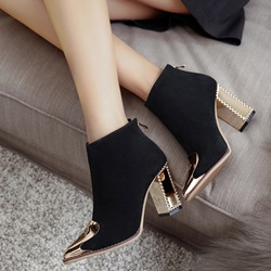 Shoespie Pointed Toe Floral Patchwork Back Zip Ankle Boots