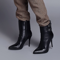 Shoespie Pointed Toe Side Zipper Buckle Ankle Boots