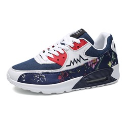 Shoespie Floral Patchwork Sneaker Color Block Lace-Up Athletic Shoes shoespie