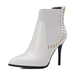 Shoespie Slip-On Stiletto Heel Pointed Toe Ankle Boots