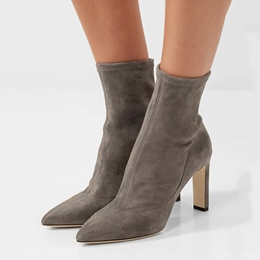 Shoespie Pointed Toe Slip-On Chunky Heel Ankle Boots