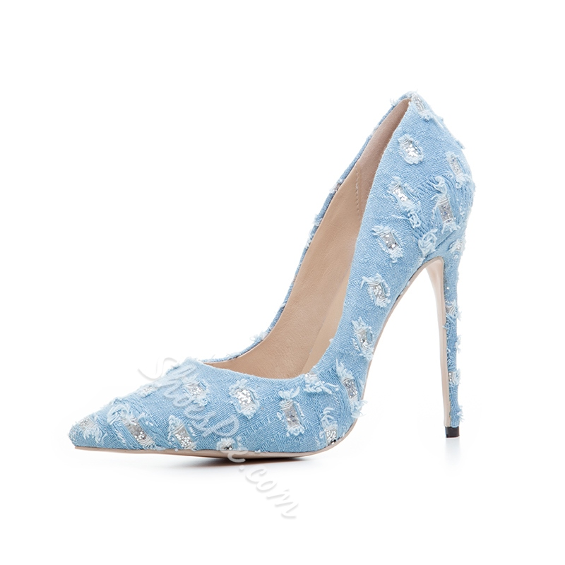 Shoespie Pointed Toe Denim Stiletto Heels