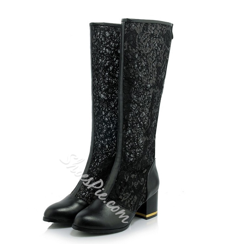 Shoespie Back Zip Lace Chunky Heel Boot