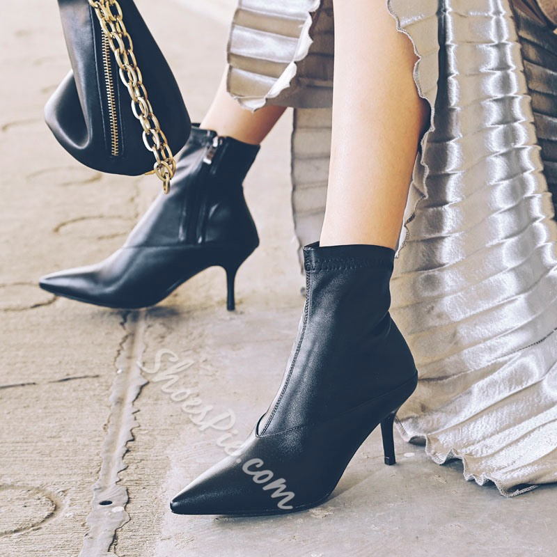 Shoespie Side Zipper Pointed Toe Ankle Boots