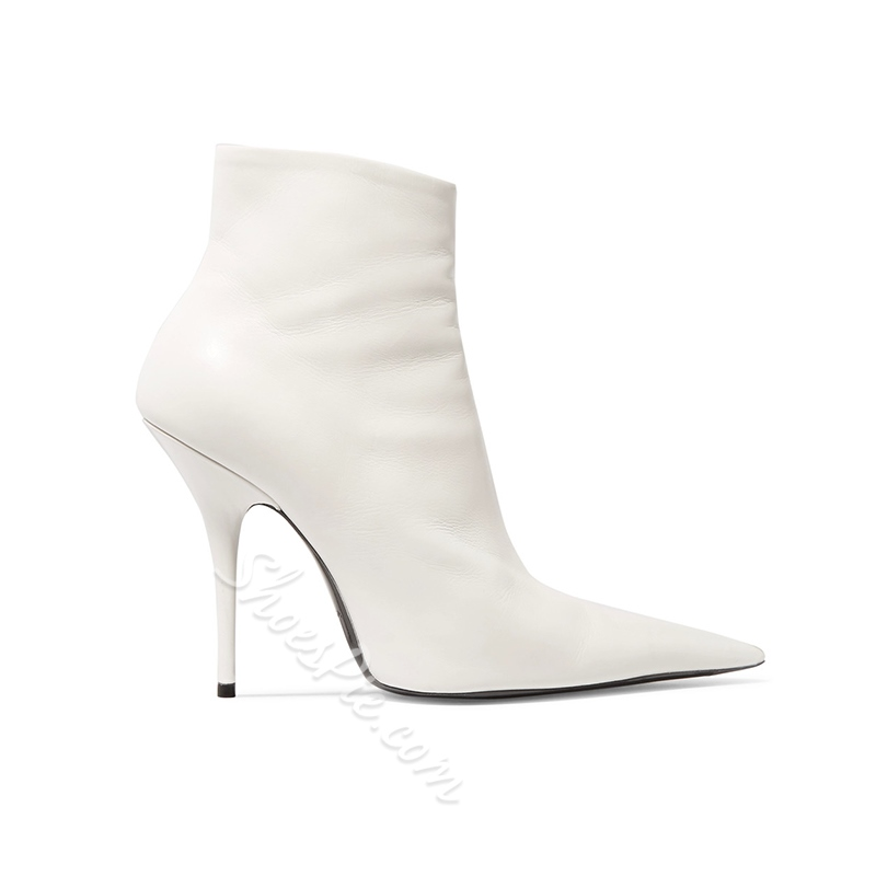Shoespie White Stiletto Chic Heel Boots