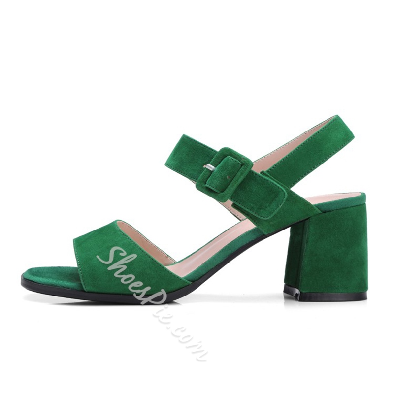 Shoespie Ankle Strap Line-Style Buckle Chunky Heel Sandals
