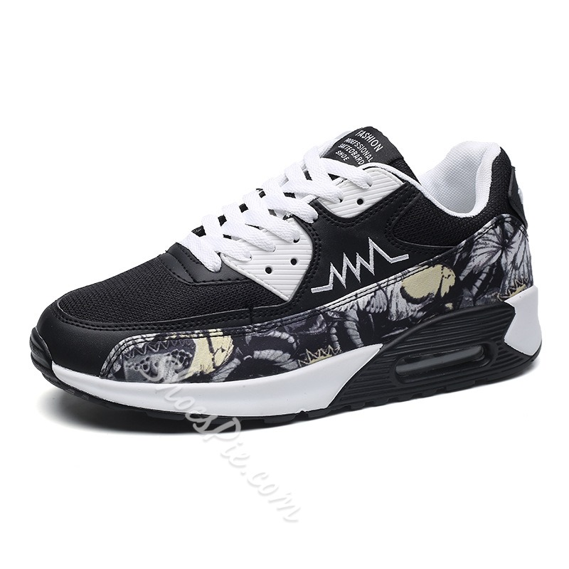 Shoespie Floral Patchwork Sneaker Color Block Lace-Up Athletic Shoes