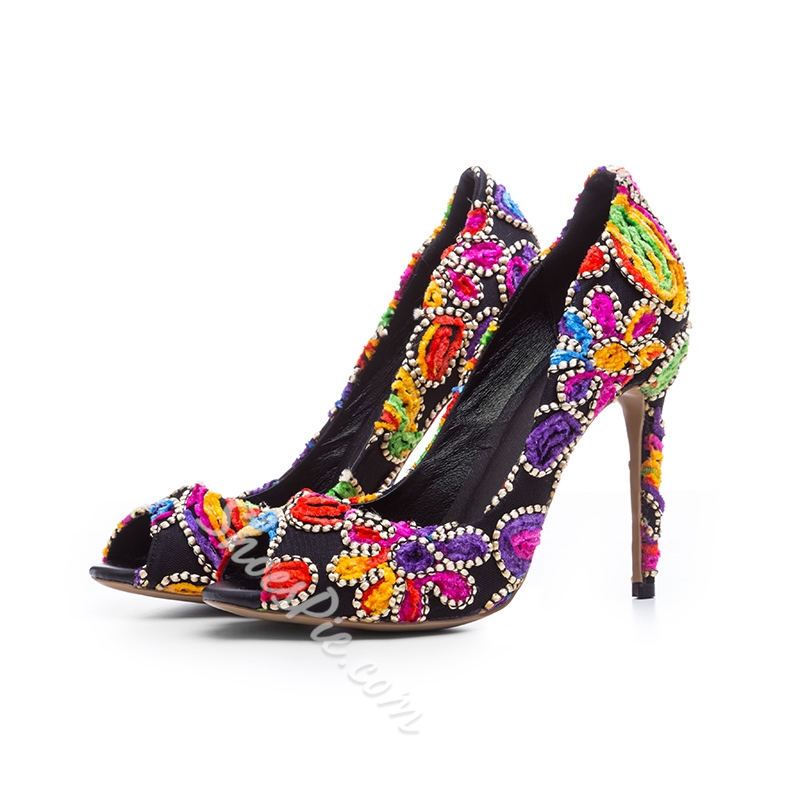 Shoespie Embroidery Peep To Stiletto Heels