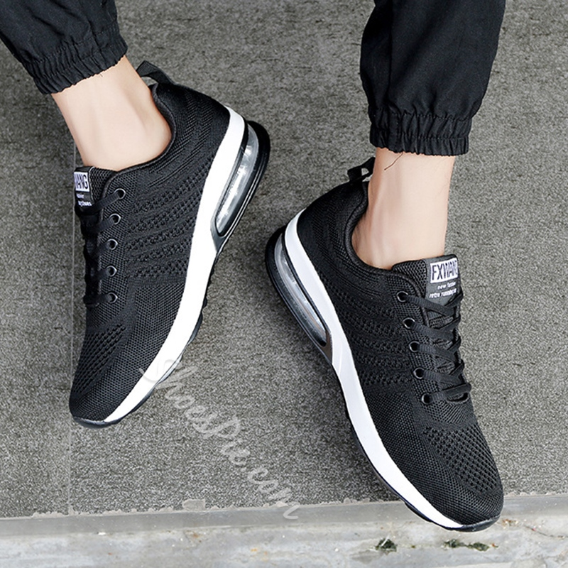 Shoespie Stripe Color Block Mesh Sneakers Lace-Up Athletic Shoes