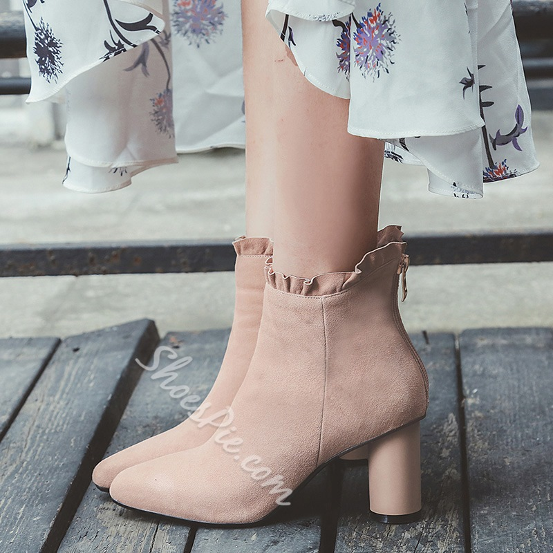 Shoespie Back Zip Square Toe Ankle Boots